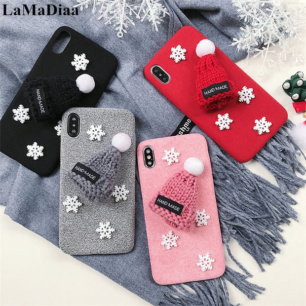 LaMaDiaa Warm Fur Ball Knitted Christmas Cap Phone Case For IPhone 6 6S 7 8 Plus X XS MAX XR Lovely 3D Hat Fiber Back Cover