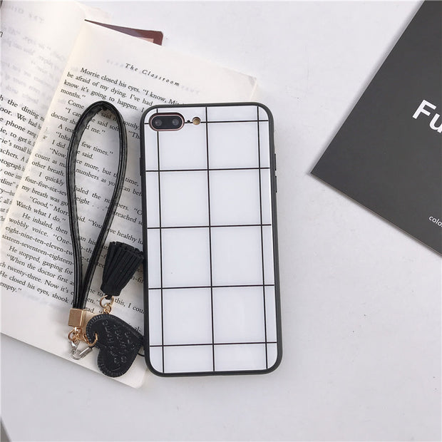 Lattice Patterned Cases For Huawei Honor 10 9 8 Lite Back Cover Shell Tempered Glass Fundas For Honor 9i V10 V9 V8 Fitted Case