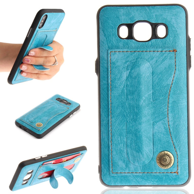 Leather+Silicone 2 In 1 Style Phone Stands Case Cover Shell Coque Fundas Card Slot For Samsung Galaxy J310 J510 J3 J5 2016