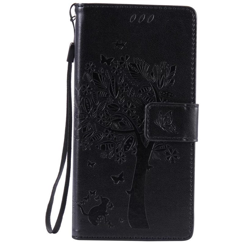 online store 93a6e d3508 Leather Case For Coque Sony Xperia Z5 E6653 Case Cover For Coque Sony  Xperia Z5 E6653 Tree Pattern Mobile Phone Bags+card Holder