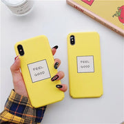 Letters FEEL GOOD Phone Cases For IPhone 8 Cases Slim Cute Candy Color Hard Cover Coque For Iphone 6S 7 8Plus X S MAX XR Case