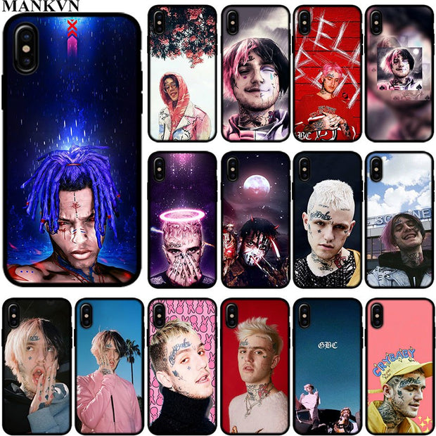 best service 2c779 a8436 Lil Peep Lil Bo Peep Black Silicone Phone Cases For Apple IPhone 6 6S 7 8  Plus X XR XS MAX 5S SE Soft TPU Case Cover