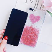 Liquid Glitter Case For IPhone 7 8 6 Plus X Case For IPhone 6S Case Lovely Heart Quicksand Dynamic Clear Cover For Iphone 8 Case