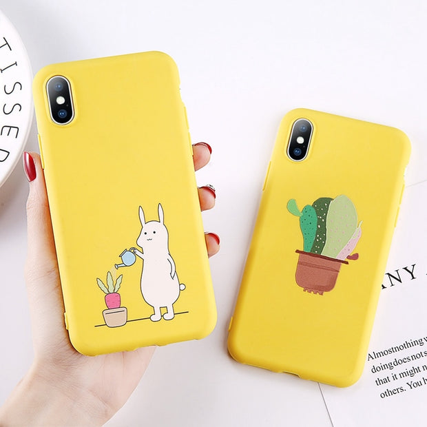 Lovebay Cute Soft Phone Case Cover For Iphone 8 7 6 6S Plus 5 5S SE Yellow Animals Deer Rabbit Back Cover For Iphone XS Max XR X
