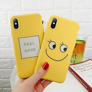 Lovebay For IPhone 6 6S 7 8 Plus X Case Fashion Cartoon Cute Smiley Face Letter FEEL GOOD Yellow Soft TPU For IPhone Phone Case