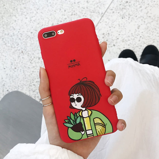 Lovebay For IPhone 6 6s 7 8 Plus X XR XS Max 5 5s SE Cartoon Couples Silicone Phone Case Letter Soft TPU Back Cover For IPhone 7
