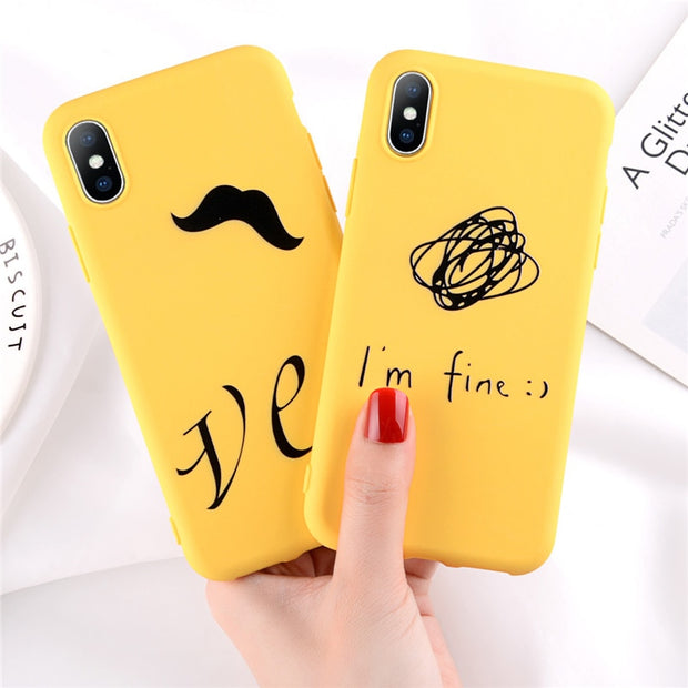 Lovebay Phone Case For IPhone 6 6s 7 8 Plus X Fashion Cute Cartoon Letter YES I Am Fine Painted Soft TPU For IPhone 8 Phone Case