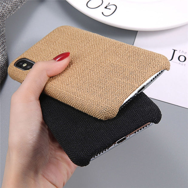 Lovebay Phone Case For IPhone 6 6s 7 8 Plus X XR XS Max Fashion Cloth Texture Canvas Soft PU Fundas For IPhone X Phone Case Bags