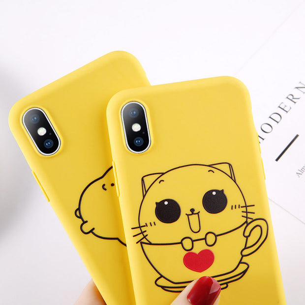 Lovebay Yellow Phone Case For IPhone 6 6S 7 8 Plus X XR XS Max Case Cartoon Cute Giraffe Animal Soft TPU For IPhone 7 Case Shell