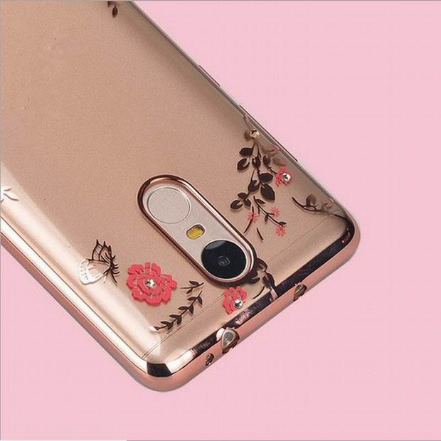 Lovely Girl Soft Clear Secret Garden Flower Glitter Phone Case For Xiaomi Redmi 4A 4X 5A 5 Plus Note 4 4X 5A Prime Note 5 Pro