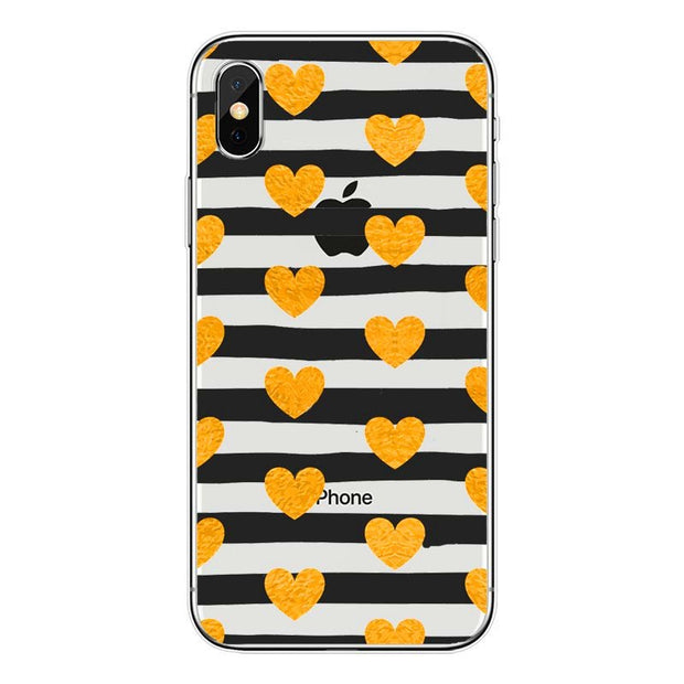 Lovely Heart Painted Silicone Soft TPU Phone Back Cocer Case For IPhone 4 4S 5 5s SE 6 6s 7 8 Plus X Fundas Coque Capa