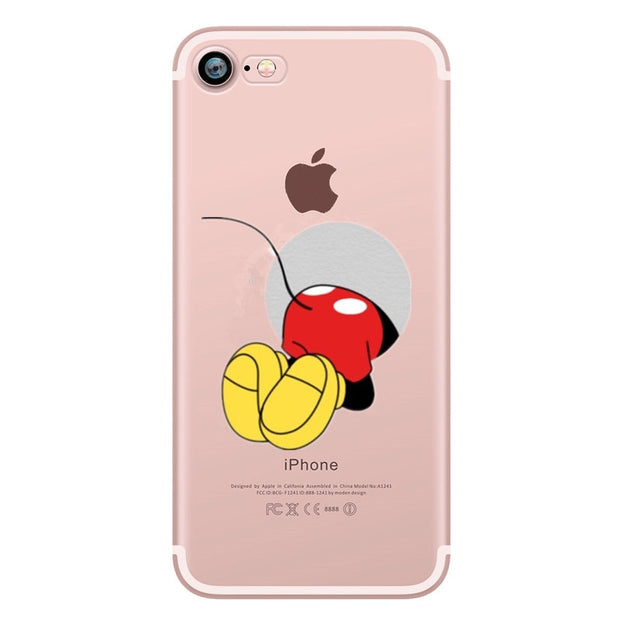 Lovely Mickey Silicone Case For Capinhas Iphone 8 7 Plus 6 6s 5s SE 5 Clear Case Cover For IPhone X XS Case Cover Shell Capa