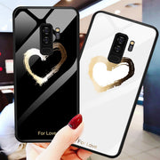 Lover Heart Painted Tempered Glass Case For Samsung Galaxy Note 8 S8 S9 Plus Coque Flower Cute Cartoon Cover For Samsung S9 Capa