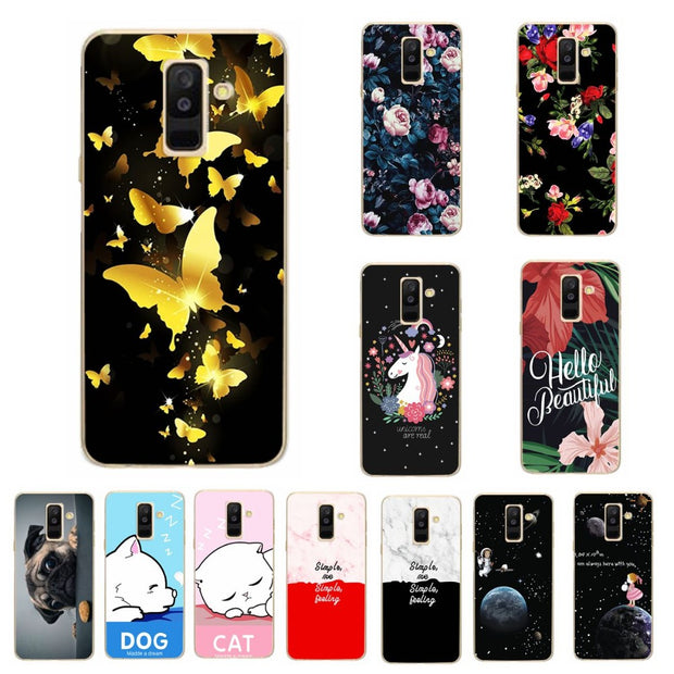 Lovers Phone Case For Samsung Galaxy A6 Plus 2018 Case Cover Coque Print Silicon For Samsung A6 Plus 2018 Capa Chic Fundas