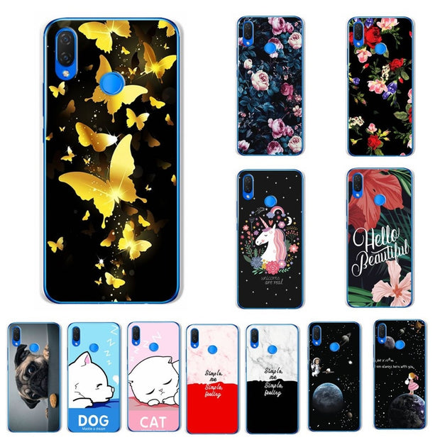 Lovers Soft Silicon TPU Phone Case For Huawei Nova 3 6.3'' Back Butterfly Chic Newest Case Cover Coque For Huawei Nova 3