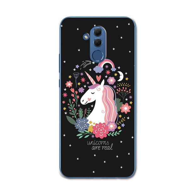 Lovers Vintage Flowers Tropical Style Chic Phone Case For Huawei Mate 20 Lite 6.3'' Back Cute Cat Cover For Huawei Mate 20 Lite