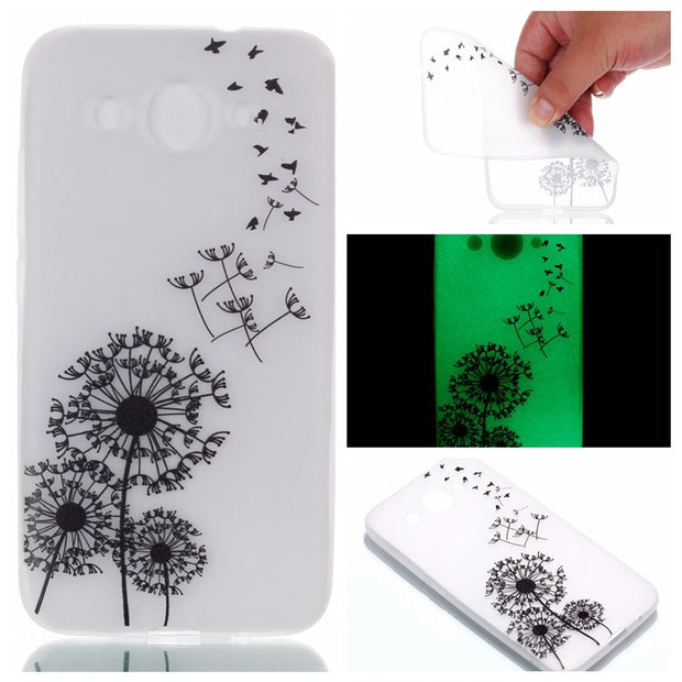 Luminous Cover For Huawei Y3 2017 Case Coque Fundas Crystal Transparent Painted Soft TPU Glow In The Dark Shell