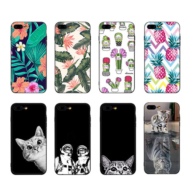 Luxury Black Matte TPU Phone Case For IPhone XS Max X 6 S 6S 7 8 Plus XR XS 10 Cartoon Cute Cat Floral Soft Silicone Cover Capa