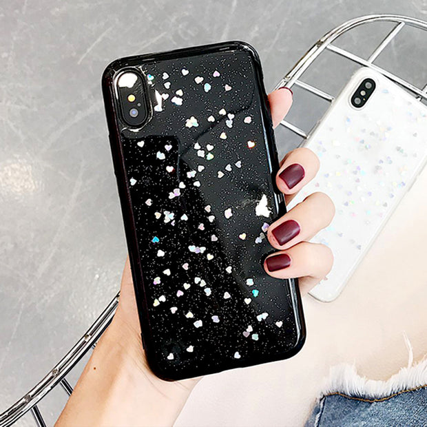 Luxury Bling Glitter Case For IPhone 7 Case For IPhone 8 7 6 6 S Plus XS Max XR X Back Cover Love Heart Soft Silicone Phone Case