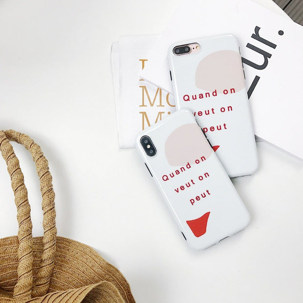 Luxury Brand Glossy IMD Soft Silicone Cover For IPhone Case X Xs 7 8 Plus 6 6S Cute Message From France Quand On Veut On Peut