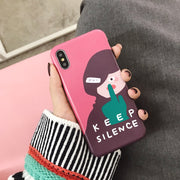 Luxury Brand IMD Soft Silicone Matte Cover For IPhone Case X 10 XS Max XR 7 8 Plus 6 6S Cute Girl Keep Silence Cartoon Coque