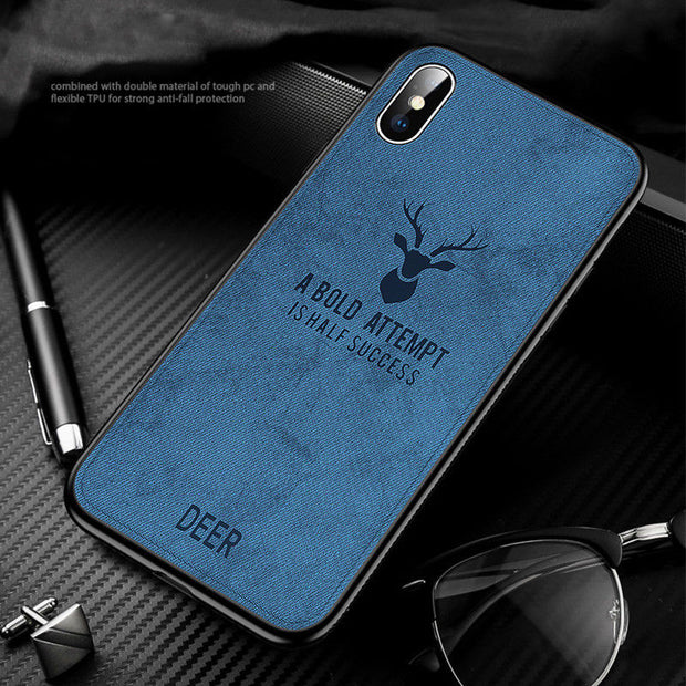 Luxury Elk Deer Pattern Phone Case For IPhone XR XS Max Soft Silicon Frame Hard PC Canvas Back Cover For IPhone X 6 6S 7 8 Plus