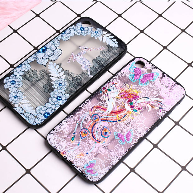 Luxury Flower Pattern Case For Iphone 8 Plus 6 6s Case Soft Silicone Floral Protect Full Cover For IPhone 7 8 Plus X Phone Cases