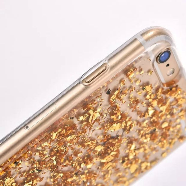 Luxury Glitter Gold Foil Sparkling Soft Clear TPU Case For IPhone X XR XS Max 8 7 6 6s Plus 5 5s SE Bling Cases Cover