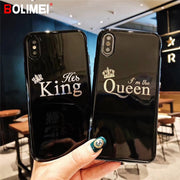 Luxury Glossy Crown Silicon Phone Case For IPhone X KING Back Cover Soft TPU Case On The For IPhone 8 7 6 6S Plus Coque Capa