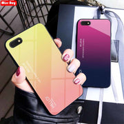 Luxury Gradient Tempered Glass Phone Cases For Huawei Y5 Prime 2018 Slim Cover Fundas For Huawei Honor 7A DUA-L22 Case 5.45 Inch