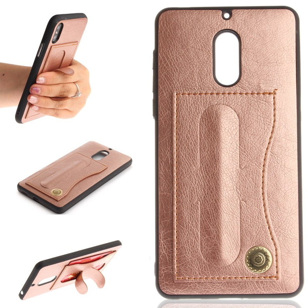 Luxury Leather+Silicon 2 In 1 Style Mobile Phone Silicone Stands Case Cover Shell Card Pocket For Nokia 3 6(2017)