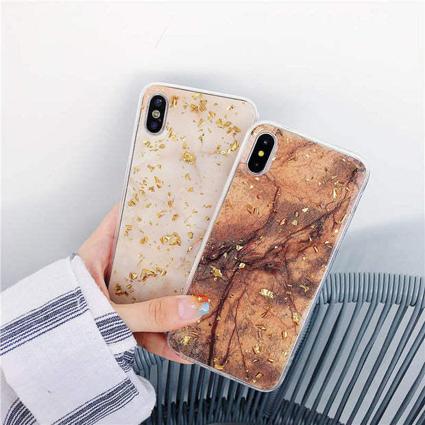 Luxury Marble Gold Foil Epoxy Soft TPU Case For Apple IPhone X XS XR Rubber Gel Back Cover For IPhone 6 6S 7 8 Plus XS Max