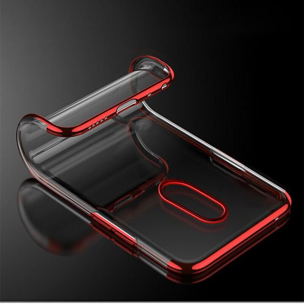 Luxury Plating Clear Case For OPPO FIND X A83 A1 A73 F7 F5 Electroplate Soft TPU Case For Vivo V9 Y85 Z1 Soft Silicone Cover