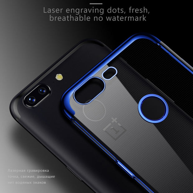 Luxury Shining Phone Case For Oneplus 6 5T 1+5T Ultra Thin Soft Silicone TPU Plating Clear Back Cover For One Plus 1+5 1+5T 6