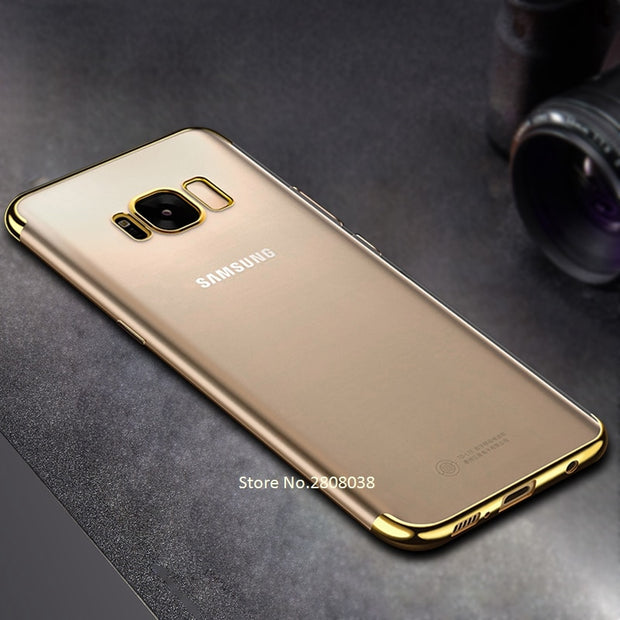 Luxury Silicone Clear Case For Samsung Galaxy A9 A6 A8 Plus 2018 A9 Star A6S A9S A3 A5 A7 2017 TPU Soft Plating Frame Back Cover