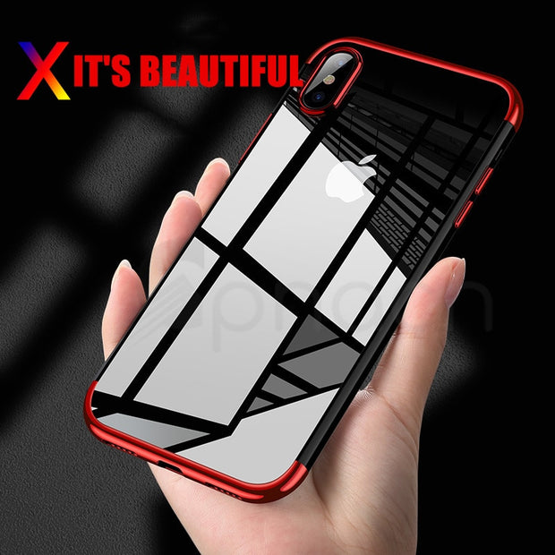 Luxury Silicone Clear Case For IPhone X XR XS Max 6 6S Plus TPU Soft Plating Transparent Back Cover For IPhone 7 8 Plus Cases