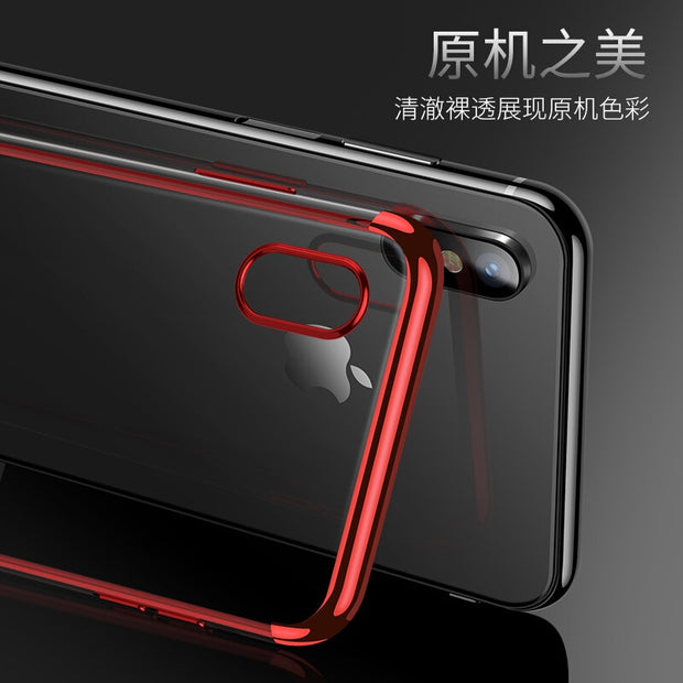 Luxury Silicone Clear Case For IPhone X 6 6S Plus TPU Soft Plating Frame Transparent Back Cover For IPhone 7 8 Plus Cases Coque