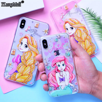 Luxury Soft TPU Case For IPhone Xs Max Case Ariel Rapunzel Princess Fundas For IPhone X Xr Case IPhone 7 8 6 6s Plus Mickey Case