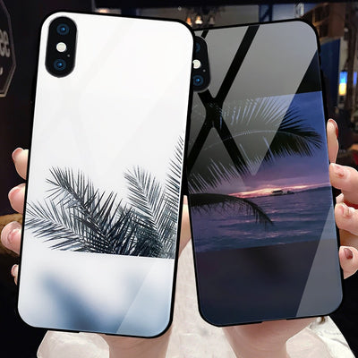Luxury Summer Coconut Tree Sea Beach Couple Phone Case For IPhone 7 6 6S 8 Plus Tempered Glass Shockproof Cover For IPhone X 10