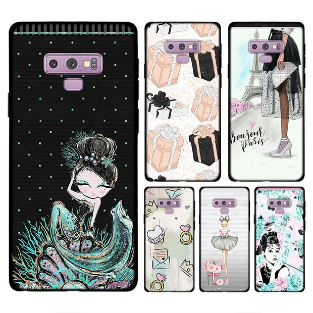 Luxury Travel Shopping Girl For Samsung Galaxy Note 9 8 S8 S9 Plus S7 Edge Soft Silicone Black Case For Galaxy Note 9 8 Case