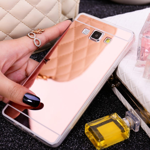Luxury Ultra Thin Mirror TPU Soft Case For Samsung Galaxy A5 A500 A500F A7 A700 A700F A8 A800 A800F Mobile Phone Bag Back Cover