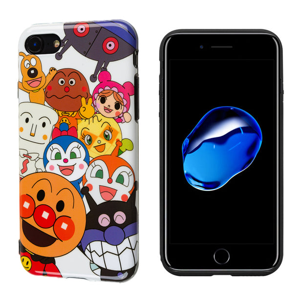 Luxury Glossy IMD Soft Silicone Case For IPhone 6 6S 7 Plus 8 XR X 10 XS Max Cover Cute Japan Cartoon Smile Face Pattern Coque