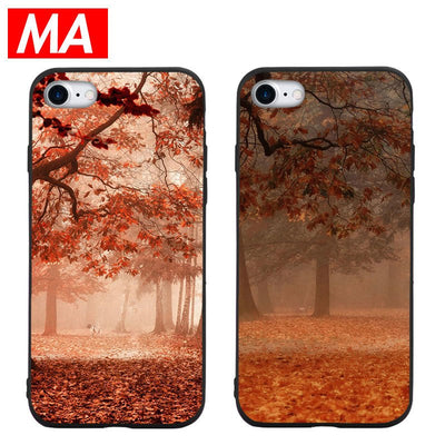 MA Beautiful Red Fenglin Scenery Phone Case For IPhone 7 8 Plus XS Max XR Case For IPhone X 7 6S 6 Plus 5 SE Soft TPU Cover