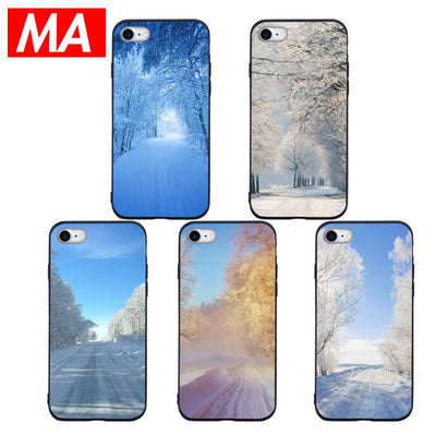 MA Beautiful Snow Scene Series Phone Case For IPhone 7 8 Plus XS Max XR Cases For IPhone X 8 7 6 6S Plus 5 SE Soft TPU Cover