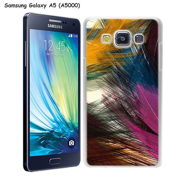 MOUGOL Colorful Feather Painting Design Transparent Hard Case Cover For Samsung Galaxy A3 A5 A7 A8 A9 2016 2017 Note 8