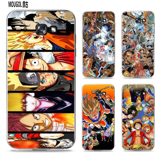 MOUGOL Japanese Anime Collage Design Transparent Hard Case Cover For Samsung Galaxy A3 A5 A7 A8 A9 2016 2017 Note 8