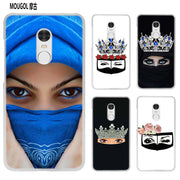 MOUGOL Oriental Woman In Hijab Face Gril Eyes Transparent Case Cover Shell For Xiaomi Redmi Note MI A1 4X 5 5A 4 4A 3 Plus 5X