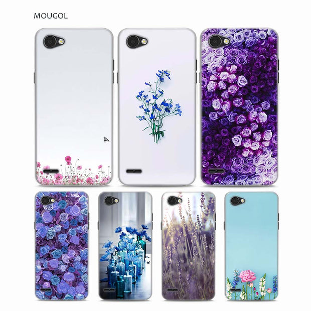 MOUGOL Simple Lavender Purple Flowers Design Transparent Hard Phone Case Cover For LG Q6 G3 G4 G5 G6 G6Mini V10 V20 V30