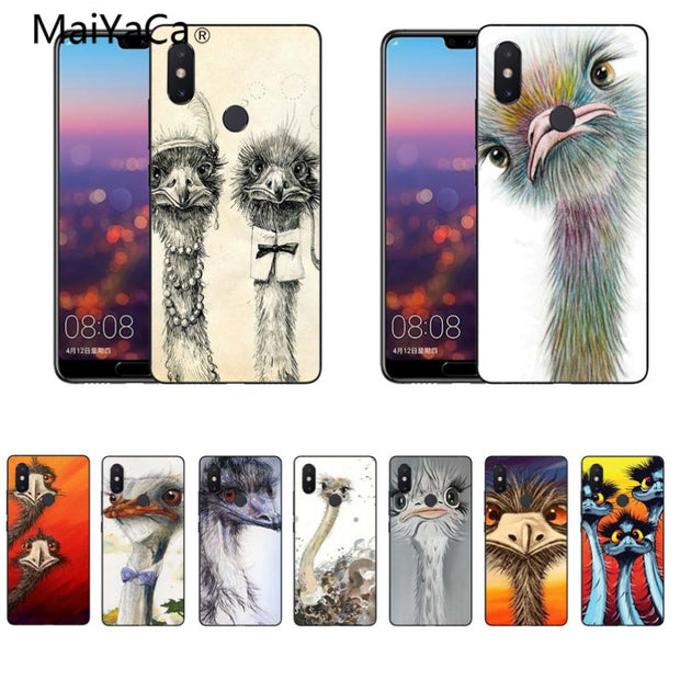 MaiYaCa Animal Funny Painting Ostrich Head Soft Black Cover Cases For Xiaomi Mi8 Mi6 Max2 Max3 4X Redmi 5 Redmi Note 5