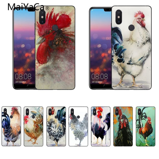 MaiYaCa Animal Watercolor Rooster Painting Rubber Phone Case Cover For Xiaomi Mi8 Mi6 Max2 Max3 4X Redmi 5 Redmi Note 5